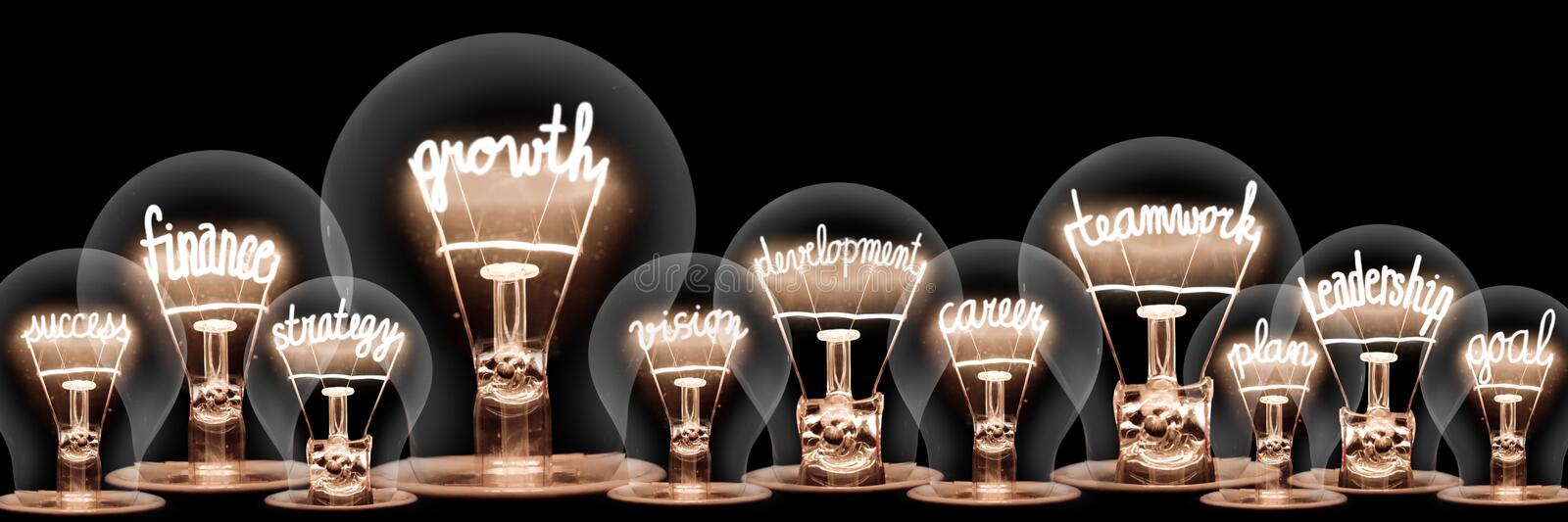 Light Bulbs with Growth Concept royalty free stock photo