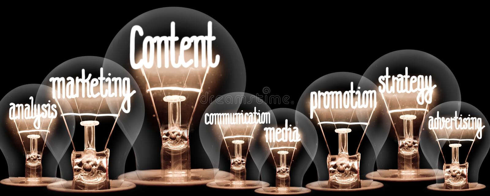Light Bulbs with Content Concept stock images