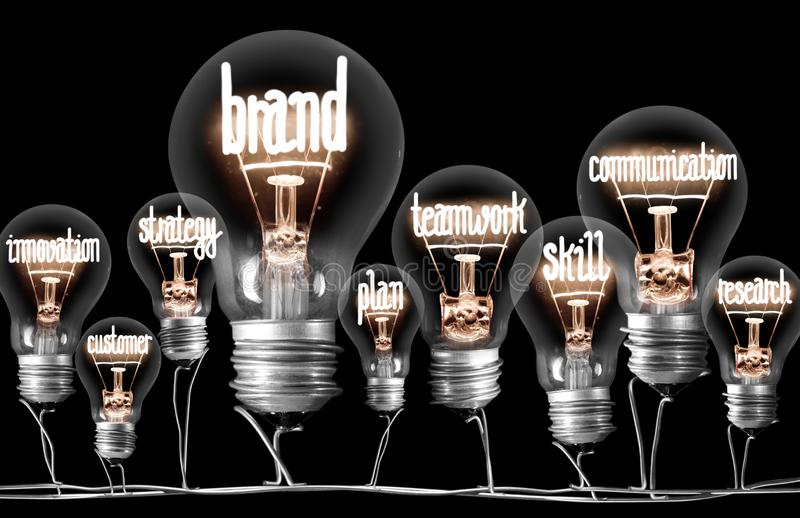 Light Bulbs with Brand Concept royalty free stock images