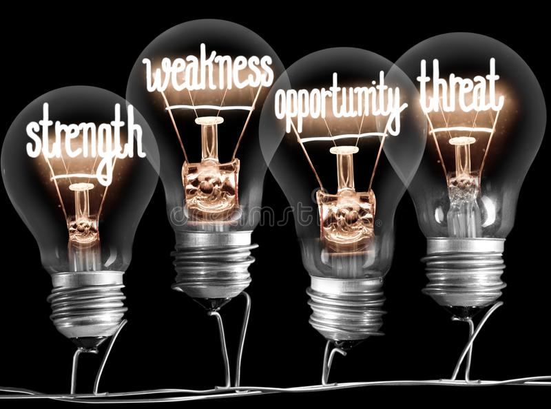 Light Bulbs with SWOT Concept stock photo