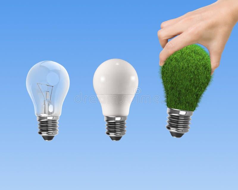 Light bulbs for ECO green energy concept royalty free stock photo