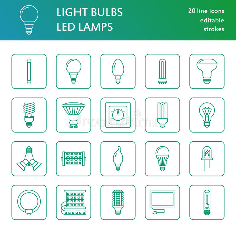 Light bulbs flat line icons. Led lamps types, fluorescent, filament, halogen, diode and other illumination. Thin linear. Signs for idea concept, electric shop royalty free illustration