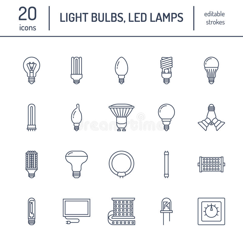 Light bulbs flat line icons. Led lamps types, fluorescent, filament, halogen, diode and other illumination. Thin linear. Signs for idea concept, electric shop stock illustration