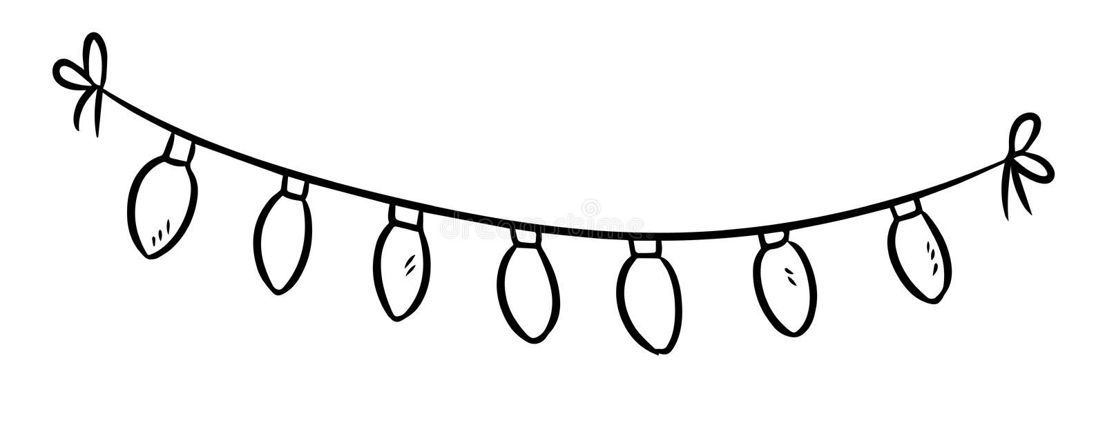 Light bulbs garland doodle. Vector isolated sketch royalty free illustration