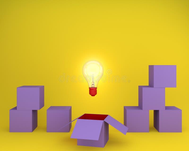 Light bulbs glowing creative idea think outside the box on yellow background, minimal concept idea. Creative thinking Ideas stock illustration