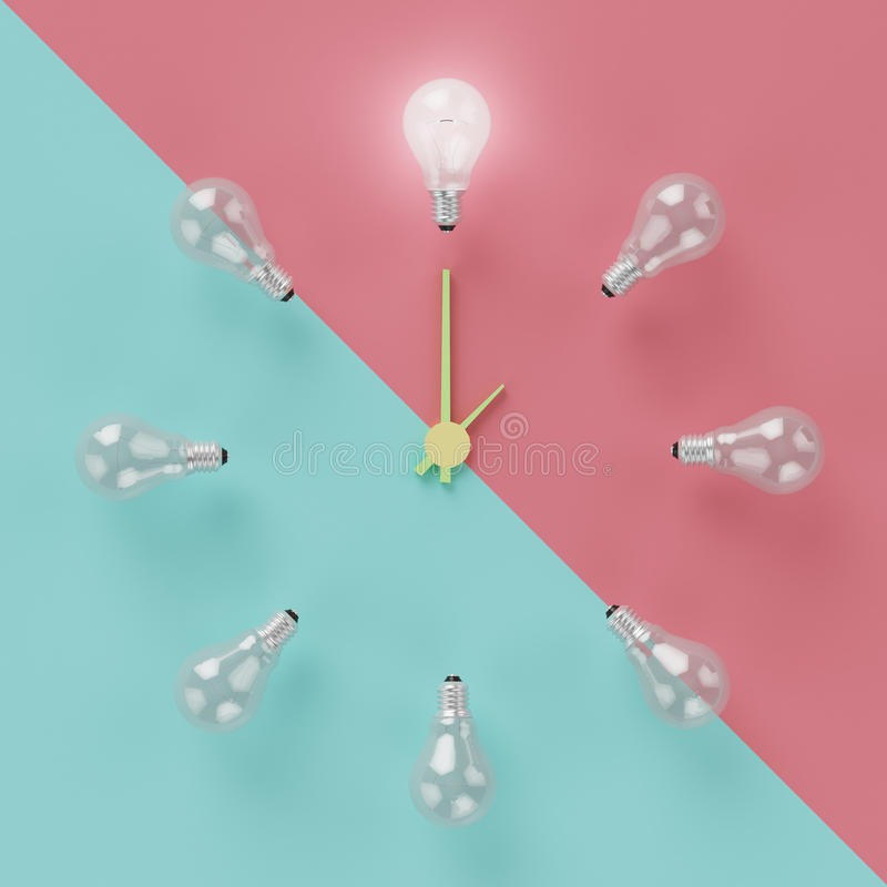 Light bulbs glowing one different idea clock concept on cross pastel pink and light blue background stock photography