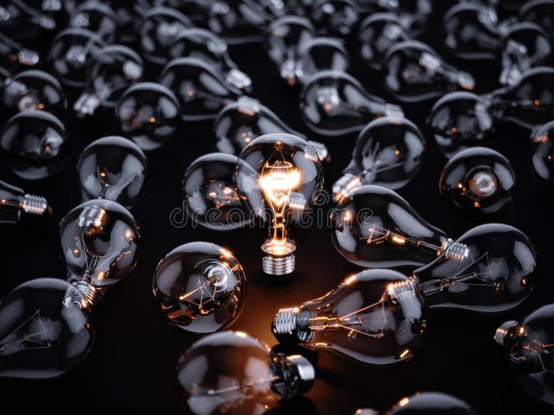 Download Light Bulbs With Glowing One Stock Illustration - Illustration of electrical, inspiration: 105242287