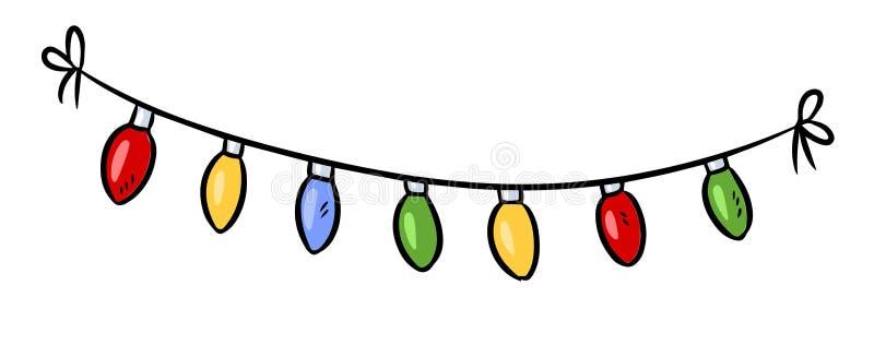 Light bulbs holiday garland doodle. Vector illustration royalty free illustration