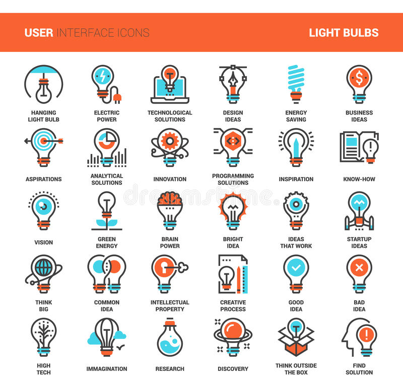 Light bulbs icons stock illustration