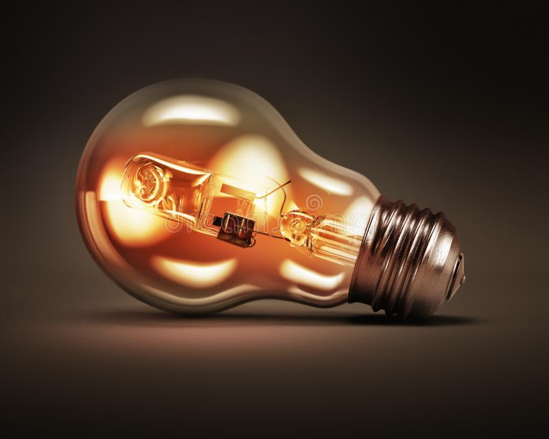 Light bulbs idea concept background. 3D rendering royalty free stock photo
