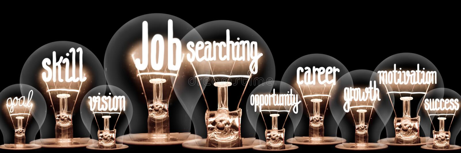 Light Bulbs with Job Searching Concept royalty free stock photo