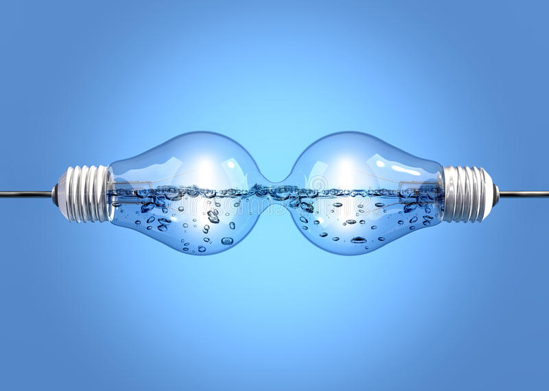 Light bulbs with liquid. Two incandescent light bulbs filled with liquid and linked together vector illustration