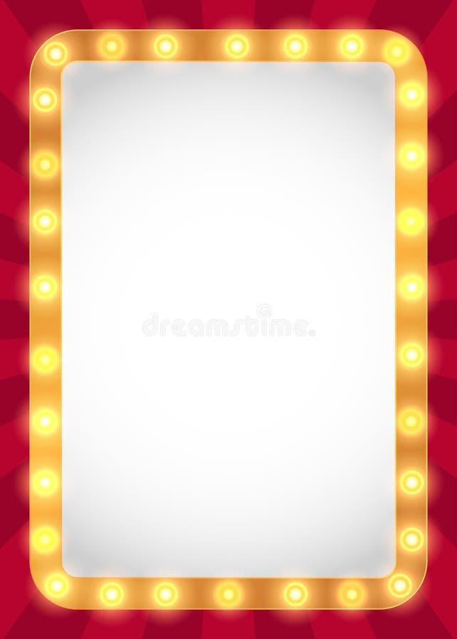 Light bulbs marquee frame stock vector. Illustration of light - 91275657