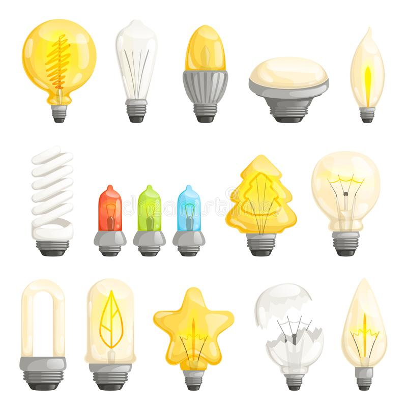 Light bulbs. Modern lamp save energy fluorescent lighted halogen vector cartoon pictures collection royalty free illustration