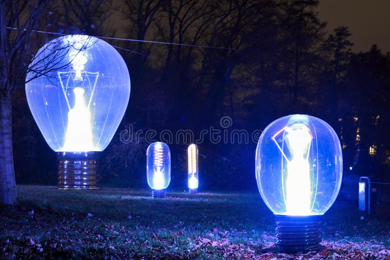 Light-bulbs at night stock photo