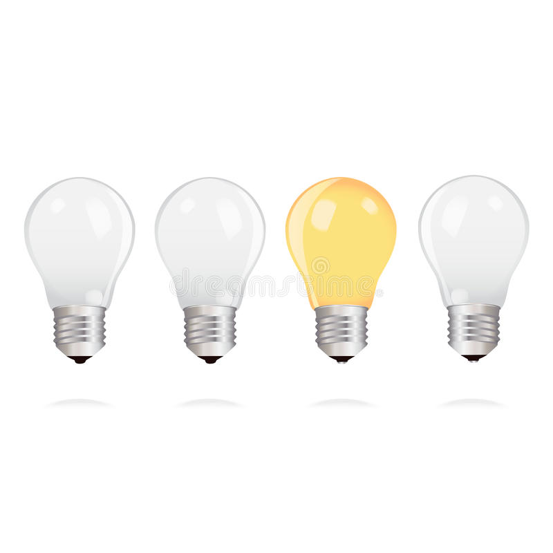 Light bulbs with one bright light bulb on white background stock illustration