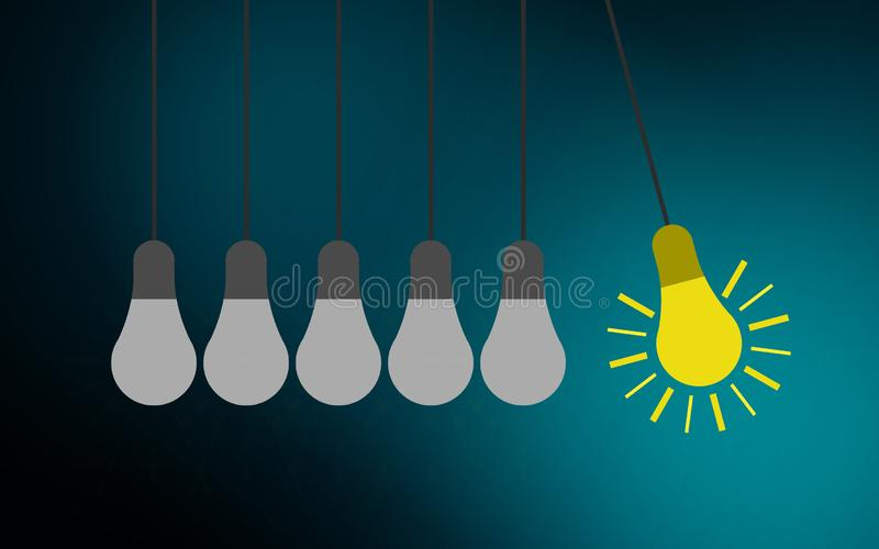 Light bulbs and perpetual motion, creativity concept stock illustration