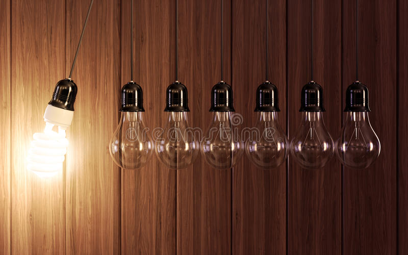 Light bulbs in perpetual motion stock illustration