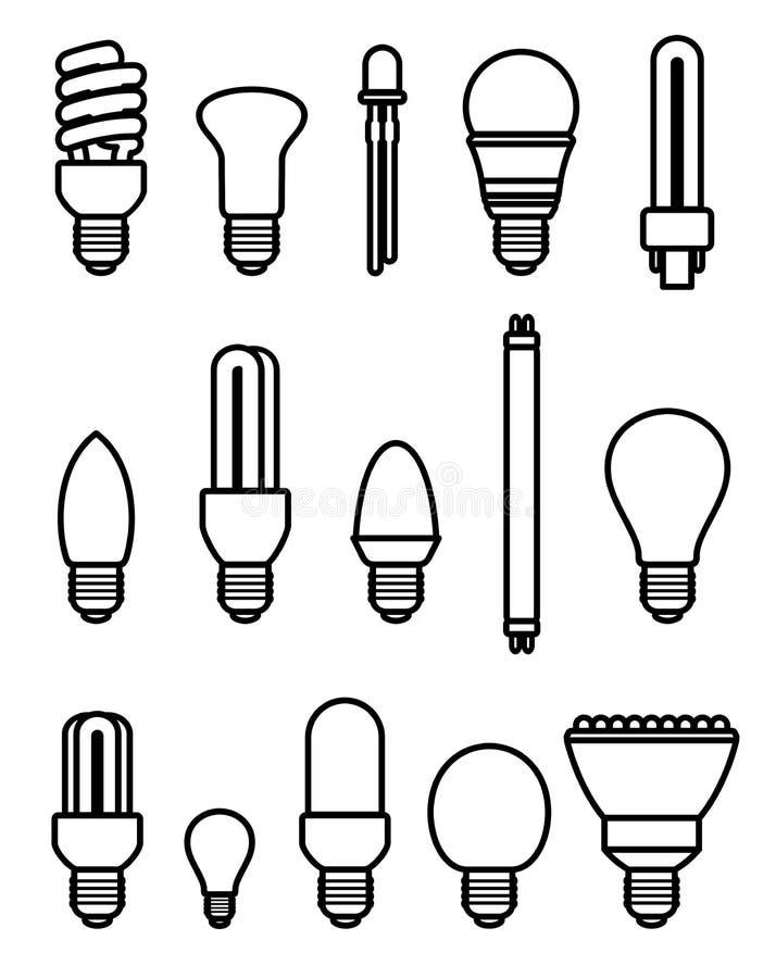 Light bulbs set. Vector stock illustration