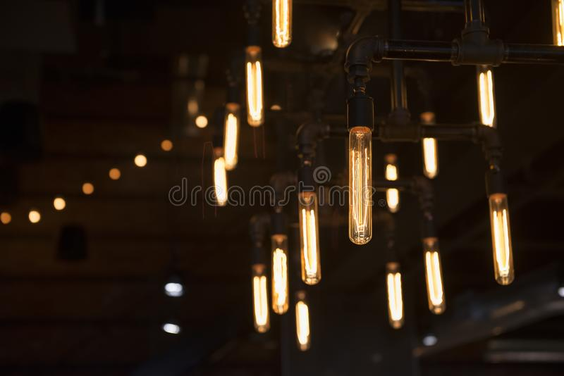 Light bulbs in a trendy bar. In downtown area stock photos