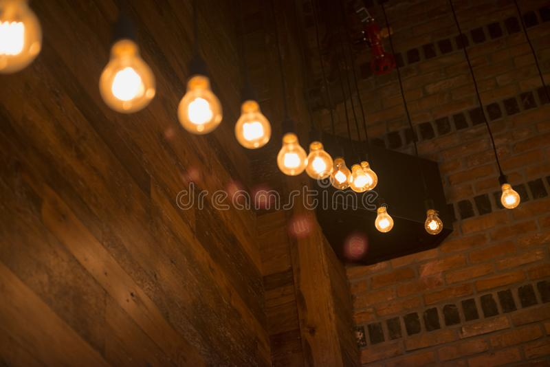 Light bulbs in a trendy bar. In downtown area stock photography