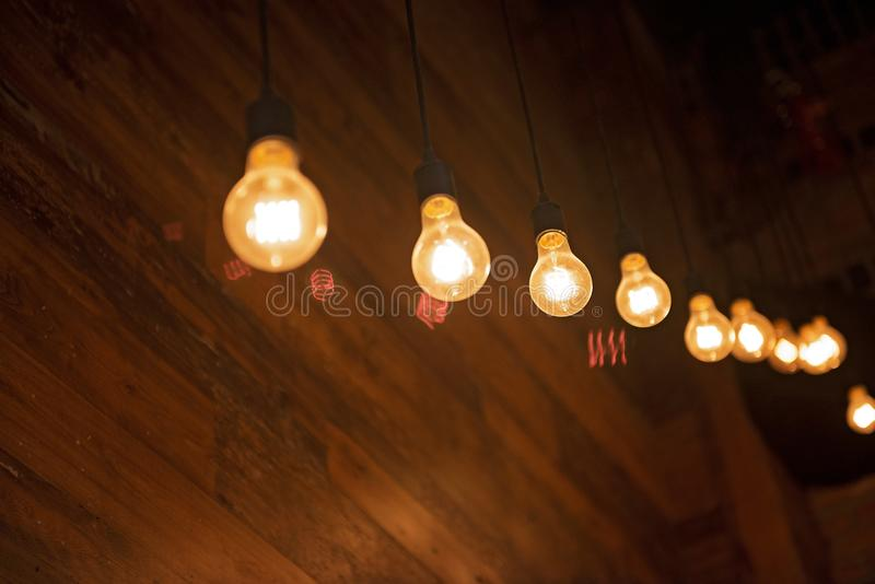 Light bulbs in a trendy bar. In downtown area royalty free stock photos