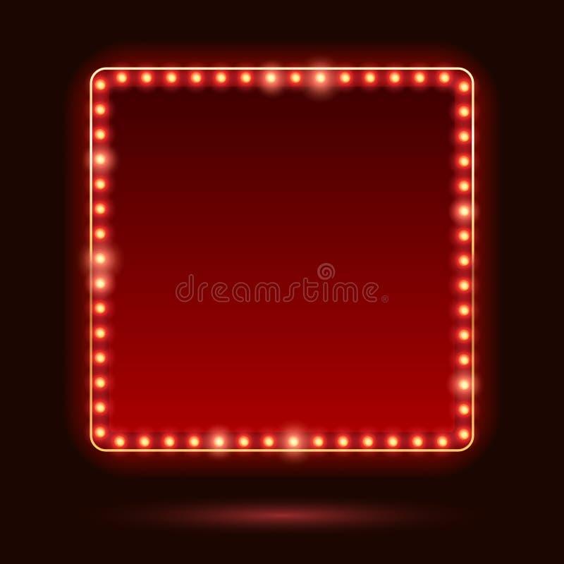 Free Light Bulbs Vintage Neon Glow Frame Vector Illustration. Stock Photo - 83189640