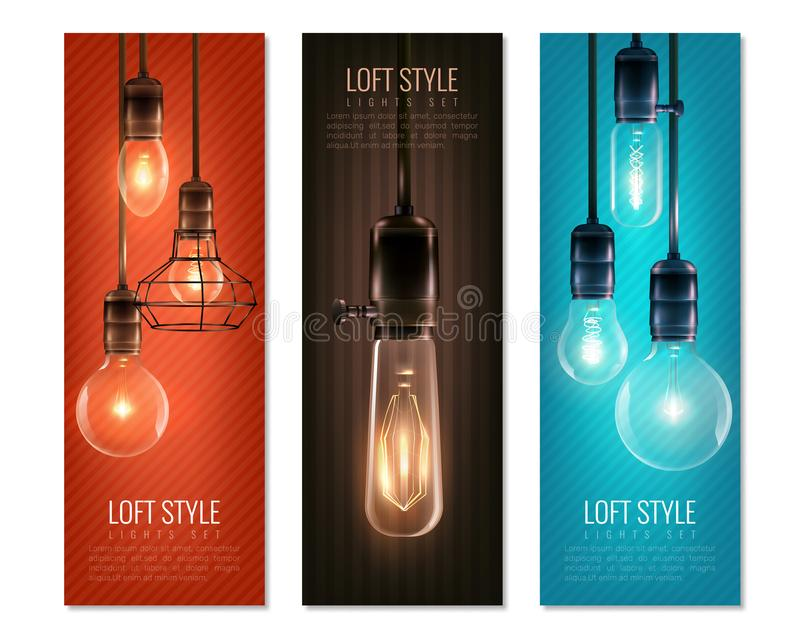 Light Bulbs Vintage Style Vertical Banners royalty free illustration