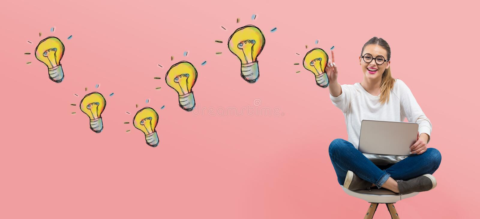 Light bulbs with young woman royalty free illustration