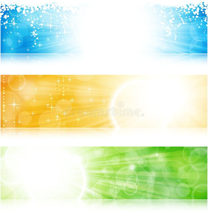 Light burst banner set. Vector header / banner light burst banner set in green, blue and gold for festive occasions with copyspace. EPS10 background with