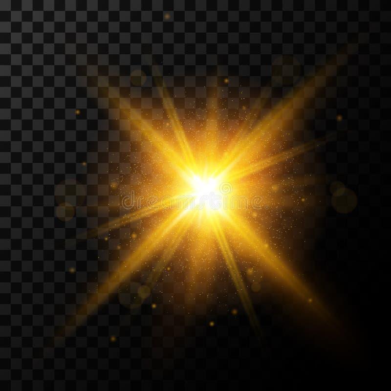 Light burst, golden light with sparkles, vector stock photo