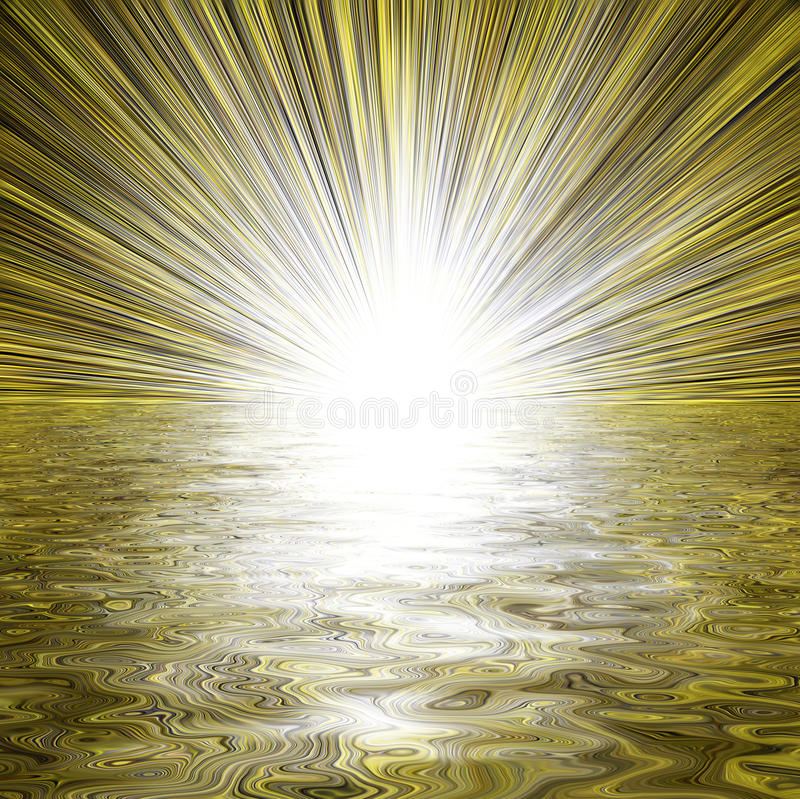 Light burst and water reflection
