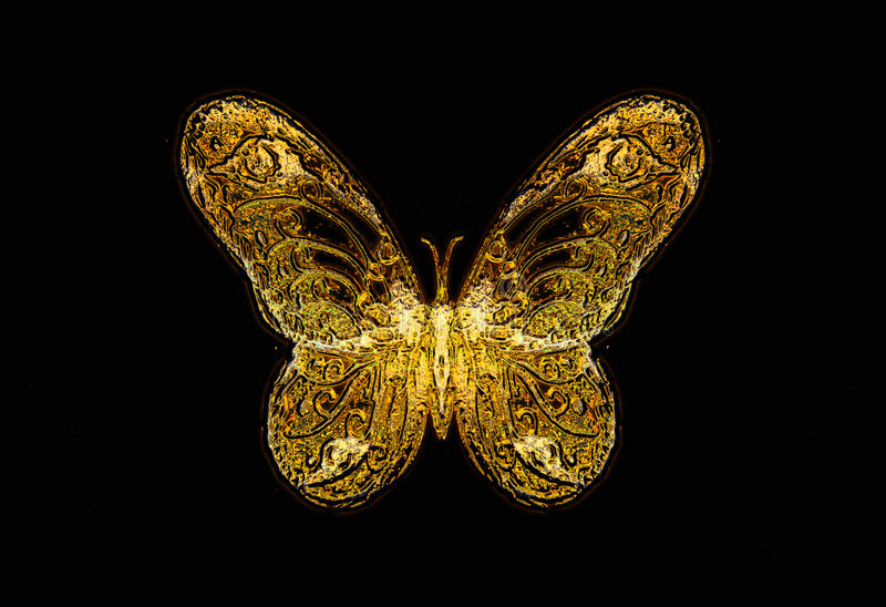 Light butterfly on black background, drawing and computer collage. royalty free illustration