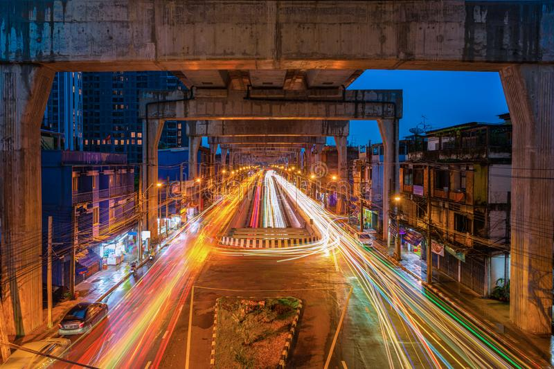 Light car a busy area separate Thapra in Bangkok,Thailand stock images