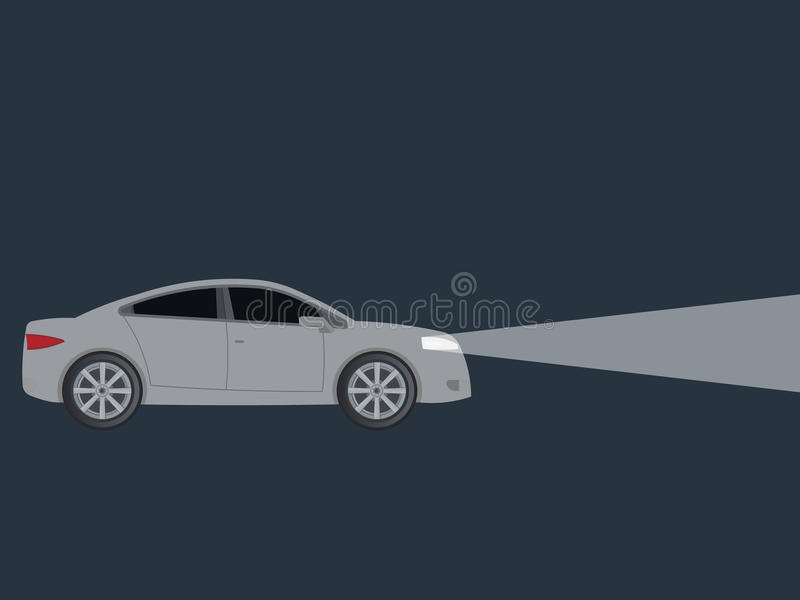 Light from car headlights in night. Isolated on background. Vector illustration. Eps 10 stock illustration