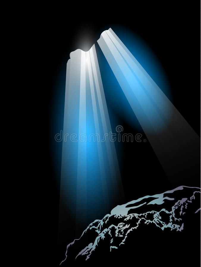 Light in Cave. Stylized background light in cave vector illustration