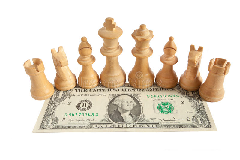 Light chess on one US dollar bill with white background royalty free stock photo
