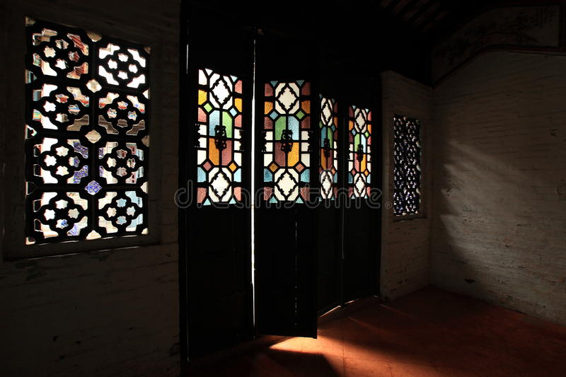 Light through the Chinese old style door royalty free stock photo