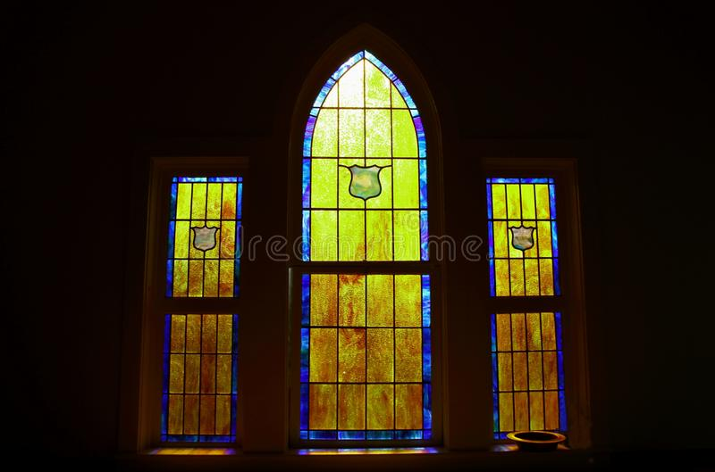 Light Through A Church Stained Glass Window stock photo