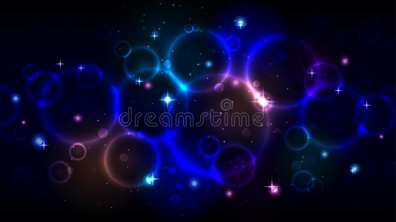 Light circles in the dark night starry sky, abstract multicolor background with circles, sparkles bokeh, stars royalty free illustration