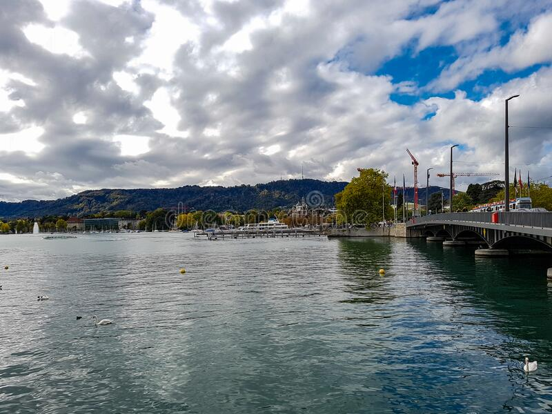 Light through clouds sun blue sky ducks in the zurich lake bridge car drive white goose duck in the water switzerland. Swiss europe royalty free stock image