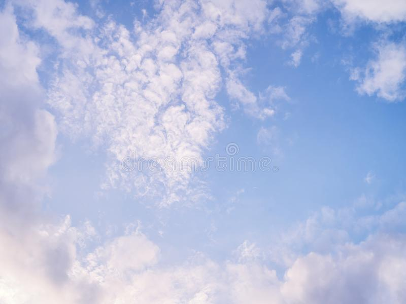 Cloudy sky texture and background. Light cloudy sky. Cloudscape at sunny day for natural background royalty free stock image