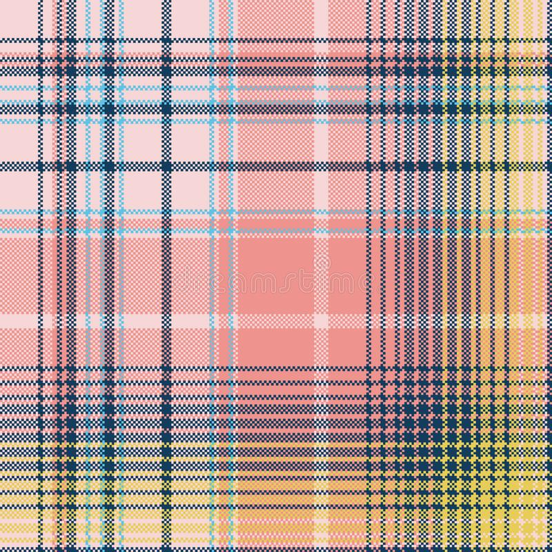 Light color check plaid pixel seamless pattern royalty free illustration