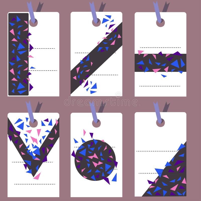 Light colored labels with triangles of different sizes and violet and blue colors. Vector labels abstract stock illustration