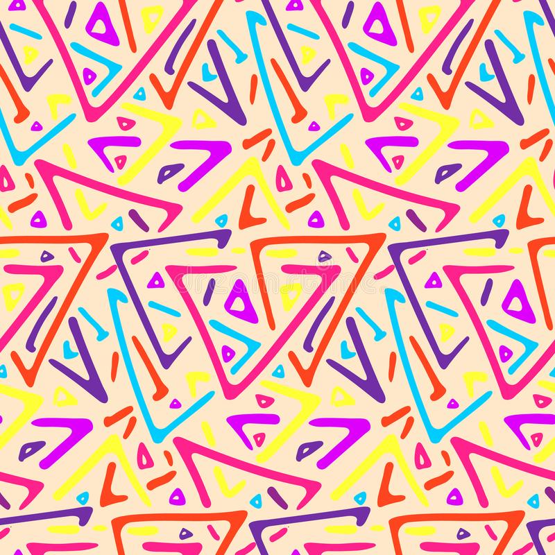 Light colorful triangles tribal seamless pattern stock illustration