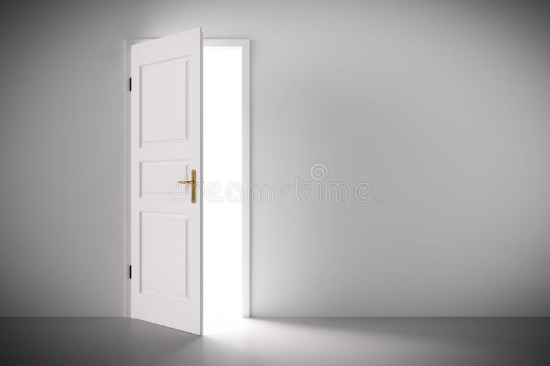 Light coming from half open classic white door. Concepts of new life, hope, religion etc. 3D illustration stock photography