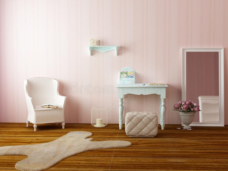 Light cozy pink room stock photos