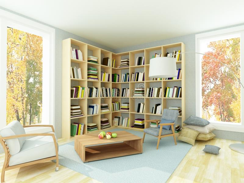 Light cozy room with bookshelves and armchairs royalty free stock image