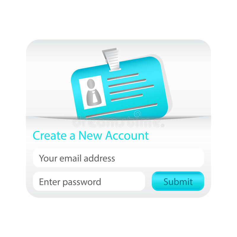 Light create a new account form with light blue ID card royalty free illustration