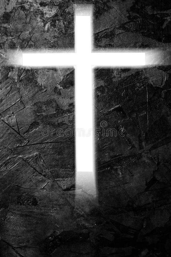 Light of cross form on cement background. In white tone royalty free stock photo